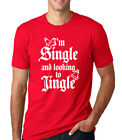 I'M SINGLE AND LOOKING TO JINGLE Christmas relationship funny Men's T-Shirt