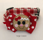 Внешний вид - Gingerbread Christmas Dog Collar With Bow Size XS-L by Doogie Couture