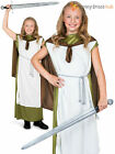 Girls Viking Costume Childs Medieval Warrior Knight Fancy Dress Book Day Outfit