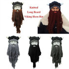 UK Knit Viking Beard Horn Hat Crazy Ski Cap Barbarian Vagabond Beanie Xmas Gifts