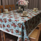 CURCYA Decorative Roses Tablecloth Cotton Linen Blended Thin Table Cloths Covers