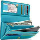 Leather Womens Wallet Ladies Clutch With Removable Checkbook Cover RFID Blocking