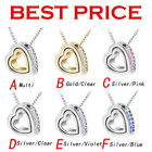 Fashion Women 925 Silver Crystal Love Heart Pendant Necklace Chain Jewelry Gift