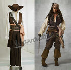 Pirates Of The Caribbean Captain Jack Sparrow Cosplay Costume Outfits for sale  Shipping to Canada