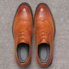 Fashion Men's Casual Leather Shoes Business Wing Tip Dress Shoes Lace Up Oxfords