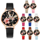 Women's Fashion Leather Flower Black Dial Analog Quartz Round Wrist Watch Watch image