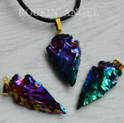 Rainbow Titanium Aura Coated Tourmaline Arrowhead Pendant Necklace or Choker