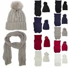 New Ladies Faux Fur Pom Pom Cable Knit Winter Matching Scarf Beanie Hat Set