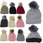 New Ladies Fleece Lining Synthetic Fur Pom Pom Ski Knitted Beanie Hat