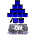 12 Pack 2oz High Quality Thick Acrylic Plastic Jar Sample Containers BPA FREE <br/> Silver Amber Cobalt Blue Black Purple Pink White Clear