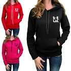 Внешний вид - Womens Under Armour Hoodie Coldgear Printed Pullover Black Magenta Red S M L XL