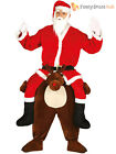 Adults Piggy back Reindeer Costume Mens Santa Christmas Fancy Dress Funny Outfit