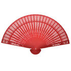 Women Chinese Wooden Bamboo Folding Hand Fan Wedding Floral Pattern Vintage