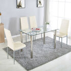 5 Piece Dining Table Set 4 Chairs White Black Glass Metal Kitchen Furniture