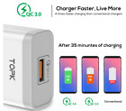 TOPK 18W Quick Charge 3.0 Fast Mobile Phone Charger EU Plug Wall USB Charger