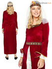 Ladies Medieval  Maid Marion Costume Princess Queen Lady Fancy Dress Womens