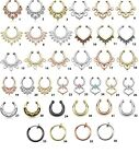 Faux/Fake septum nose ring Opal Gem Tribal Body Jewelry Septum Hinged Segment