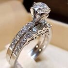 Elegant Women 925 Silver Jewelry Wedding Set Rings White Sapphire Ring Size 5-12 image