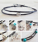 Silver Charm Anklet Black Cord Ankle Bracelet Feather OM Evil Eye Triquetra Tree