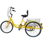 """Shimano 7-Speed Adult 24"""" 3-Wheel Tricycle Trike Bicycle Cruise With Basket"""