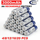 4-20pcs BTY AA/AAA 2A/3A Rechargeable Battery Batteries 1.2V 3000mAh Ni-MH USA