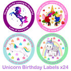 Personalised Unicorn Birthday Stickers Bags Party Gift Sweet Cone Thank you Star