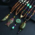 Ethnic Style  Vintage Wooden Bead Pendant Necklace Tibetan Sweater Necklace Rs@