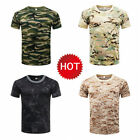 US Men MILITARY Camouflage T-Shirt Compression Short Sleeve Quick Dry Tee Shirt image