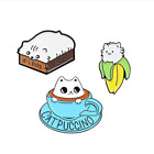 IF I FITS I SITS Lazy Cat Cute Banana Coffee Perfect Partnel Enamel Pins Brooch image