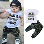 FixedPriceus toddler kids baby boy cute outfits short sleeve t-shirt top+pants clothes set