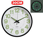 12'' Wall Clock Glow In The Dark Silent Quartz Indoor/outdoor Noctilucent Uk