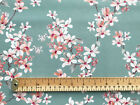 100% Cotton Fabric - Teal Cherry Blossom Floral Print - Craft Material Metre