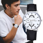 Mens Stainless Steel Leather Strap Watch Military Formal Dress Round Wrist Watch image
