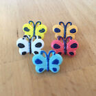 Painted butterfly buttons 17mm x 12mm sold per 5 buttons white, blue pink yellow