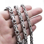 5/6/8 MM Men's Necklace Stainless Steel Silver Tone Byzantine Chain Jewelry  image