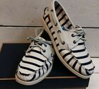 Ladies Sebago Spinnaker Navy/White Stripe Leather & Canvas Deck Shoes