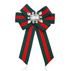 Red Green Fashion Stripes Design Bow Tie Brooch Jewelry Ribbon Collar Ladies