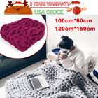 US Yarn Chunky Knit Blanket Chunky Arm Knit Throw Knitted Blanket Mat Handmade image