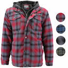 Внешний вид - vkwear Men's Quilted Lined Cotton Plaid Flannel Layered Zip Up Hoodie Jacket
