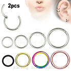2x Hinged Seamless Segment Ring Surgical Steel Nose Hoop Earring Lip Septum Ring image