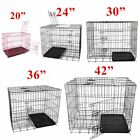 DOG CAGE PUPPY TRAINING CRATE PET CARRIER - 20/24/30/36/42 INCH CAGES WITH TRAY