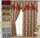 "Luxury Jacquard Curtain Panel with Attached Waterfall Valance 54"" X 84"" Ashley"