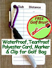 GOLF CLUB DISTANCE CARD: Know Your Club Distance - WeatherProof - Polyester Card