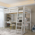 High Sleeper Cabin Bed with Ladder Solid Wooden Loft Bunk Bed White Kids Adult