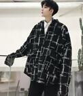 Men Youth Black Lapel Tops Loose Shirts Nightclub Fashion Korean DJ Oversize