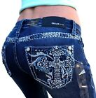 Внешний вид - Grace In LA Jeans Low Rise Cross Embellished Bootcut 25 26 27 28 29 30 31