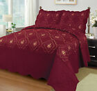3 Pcs Polyester Bedspread Quilted Bed Cover Embroidery Coverlet Quilt Set image