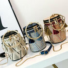 Hot Women Straw Bag Circle Barrel Rattan Bohemian Shoulder Bags Tote Handbag Us