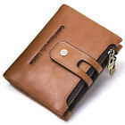 Men's COW Leather Wallet Credit Card Holder Clutch Bifold Pocket Zip Coin Purse