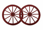 Steel-rimmed Wooden Wagon Wheels, Decorative Wall Decor, Set of Two